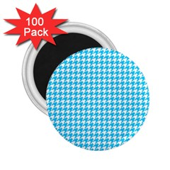 Friendly Houndstooth Pattern,aqua 2 25  Magnets (100 Pack)  by MoreColorsinLife