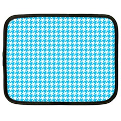 Friendly Houndstooth Pattern,aqua Netbook Case (xl)  by MoreColorsinLife