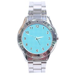 Friendly Houndstooth Pattern,aqua Stainless Steel Analogue Watch by MoreColorsinLife