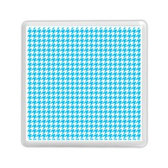 Friendly Houndstooth Pattern,aqua Memory Card Reader (square)  by MoreColorsinLife