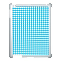 Friendly Houndstooth Pattern,aqua Apple Ipad 3/4 Case (white) by MoreColorsinLife
