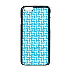 Friendly Houndstooth Pattern,aqua Apple Iphone 6/6s Black Enamel Case by MoreColorsinLife