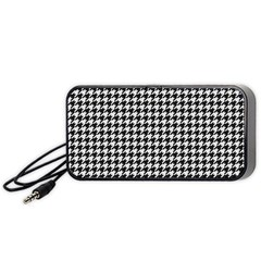Friendly Houndstooth Pattern,black And White Portable Speaker (black) by MoreColorsinLife