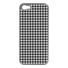 Friendly Houndstooth Pattern,black And White Apple Iphone 5 Case (silver) by MoreColorsinLife