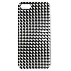 Friendly Houndstooth Pattern,black And White Apple Iphone 5 Hardshell Case With Stand by MoreColorsinLife