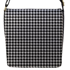 Friendly Houndstooth Pattern,black And White Flap Messenger Bag (s) by MoreColorsinLife