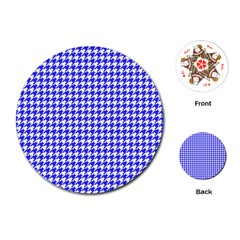 Friendly Houndstooth Pattern,blue Playing Cards (round)  by MoreColorsinLife
