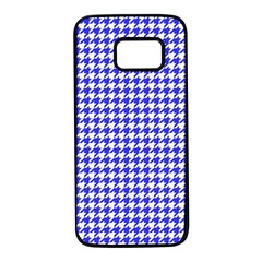 Friendly Houndstooth Pattern,blue Samsung Galaxy S7 Black Seamless Case by MoreColorsinLife