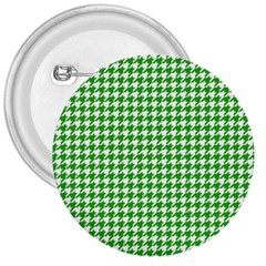 Friendly Houndstooth Pattern,green 3  Buttons by MoreColorsinLife