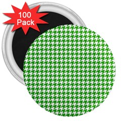 Friendly Houndstooth Pattern,green 3  Magnets (100 Pack)
