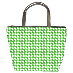 Friendly Houndstooth Pattern,green Bucket Bags by MoreColorsinLife