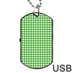 Friendly Houndstooth Pattern,green Dog Tag Usb Flash (two Sides) by MoreColorsinLife
