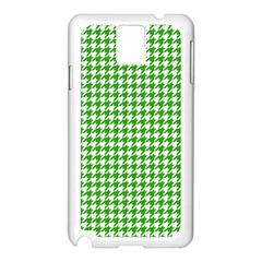 Friendly Houndstooth Pattern,green Samsung Galaxy Note 3 N9005 Case (white) by MoreColorsinLife