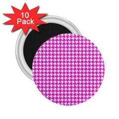 Friendly Houndstooth Pattern,pink 2 25  Magnets (10 Pack)  by MoreColorsinLife