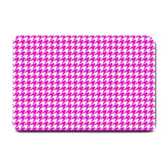 Friendly Houndstooth Pattern,pink Small Doormat  by MoreColorsinLife