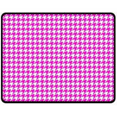 Friendly Houndstooth Pattern,pink Double Sided Fleece Blanket (medium)  by MoreColorsinLife