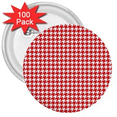 Friendly Houndstooth Pattern,red 3  Buttons (100 Pack)  by MoreColorsinLife