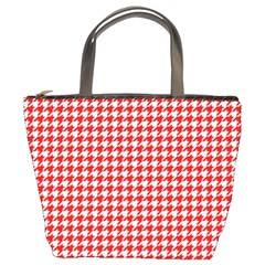 Friendly Houndstooth Pattern,red Bucket Bags by MoreColorsinLife
