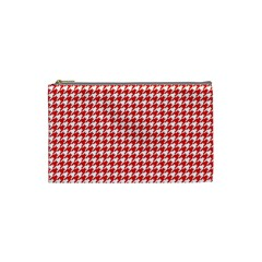 Friendly Houndstooth Pattern,red Cosmetic Bag (small)  by MoreColorsinLife