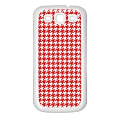 Friendly Houndstooth Pattern,red Samsung Galaxy S3 Back Case (white) by MoreColorsinLife