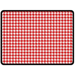 Friendly Houndstooth Pattern,red Double Sided Fleece Blanket (large)  by MoreColorsinLife