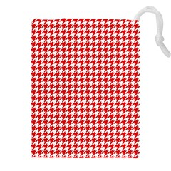 Friendly Houndstooth Pattern,red Drawstring Pouches (xxl) by MoreColorsinLife