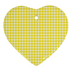 Friendly Houndstooth Pattern,yellow Ornament (heart) by MoreColorsinLife