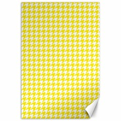 Friendly Houndstooth Pattern,yellow Canvas 24  X 36  by MoreColorsinLife