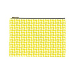 Friendly Houndstooth Pattern,yellow Cosmetic Bag (large)  by MoreColorsinLife