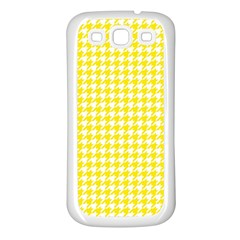 Friendly Houndstooth Pattern,yellow Samsung Galaxy S3 Back Case (white) by MoreColorsinLife