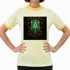 Temple Of Yoga In Light Peace And Human Namaste Style Women s Fitted Ringer T Shirts