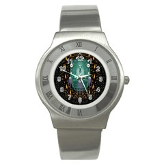 Temple Of Yoga In Light Peace And Human Namaste Style Stainless Steel Watch by pepitasart