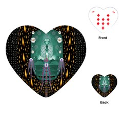 Temple Of Yoga In Light Peace And Human Namaste Style Playing Cards (heart)  by pepitasart