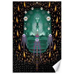 Temple Of Yoga In Light Peace And Human Namaste Style Canvas 12  X 18   by pepitasart