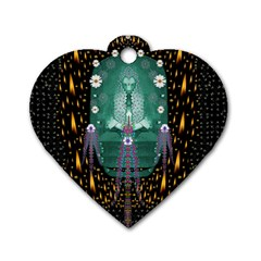 Temple Of Yoga In Light Peace And Human Namaste Style Dog Tag Heart (one Side) by pepitasart