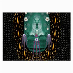 Temple Of Yoga In Light Peace And Human Namaste Style Large Glasses Cloth (2 Side) by pepitasart