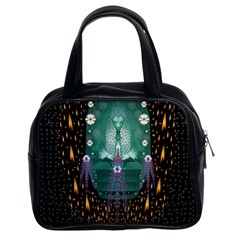 Temple Of Yoga In Light Peace And Human Namaste Style Classic Handbags (2 Sides) by pepitasart