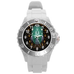 Temple Of Yoga In Light Peace And Human Namaste Style Round Plastic Sport Watch (l) by pepitasart