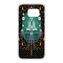Temple Of Yoga In Light Peace And Human Namaste Style Samsung Galaxy S7 Edge White Seamless Case by pepitasart