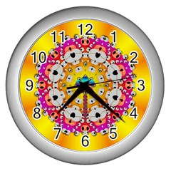 Fantasy Flower In Tones Wall Clocks (silver)  by pepitasart