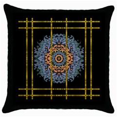 Blue Bloom Golden And Metal Throw Pillow Case (black) by pepitasart