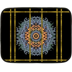 Blue Bloom Golden And Metal Double Sided Fleece Blanket (mini)  by pepitasart