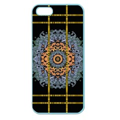 Blue Bloom Golden And Metal Apple Seamless Iphone 5 Case (color) by pepitasart