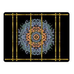 Blue Bloom Golden And Metal Double Sided Fleece Blanket (small)  by pepitasart