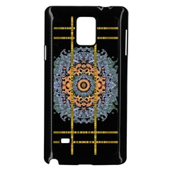 Blue Bloom Golden And Metal Samsung Galaxy Note 4 Case (black) by pepitasart