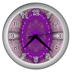 Fantasy Flowers In Harmony  In Lilac Wall Clocks (silver)  by pepitasart