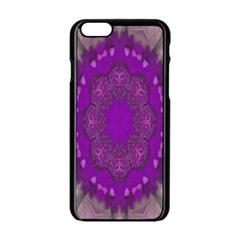 Fantasy Flowers In Harmony  In Lilac Apple Iphone 6/6s Black Enamel Case by pepitasart