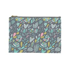 Cactus Pattern Green  Cosmetic Bag (large)  by Mishacat