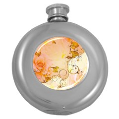 Wonderful Floral Design In Soft Colors Round Hip Flask (5 Oz) by FantasyWorld7