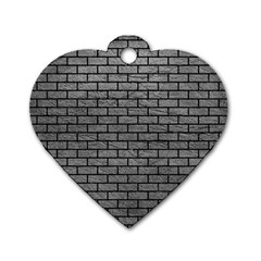 Brick1 Black Marble & Gray Leather (r) Dog Tag Heart (two Sides) by trendistuff